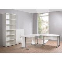 Toimistopöytä Prima, valkoinen, tvilum
