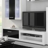 TV-taso Atlanta valkoinen/kiiltävä musta