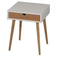 Hobro lamppupöytä/yöpöytä valkoinen/luonnonväriset jalat ja laatikko