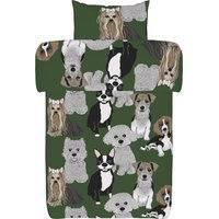 Vallila Doggies -pussilakanasetti, vihreä, 150 x 210 cm + 50 x 60 cm