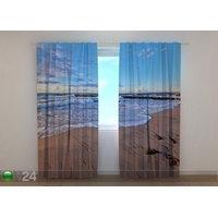 Puolipimentävä verho Morning on the Beach 240x220 cm, Wellmira