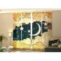 Puolipimentävä paneeliverho Cartoon style night sky 240x240 cm, Wellmira