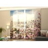 Puolipimentävä paneeliverho Eiffel Tower with Blooming Magnolia 240x240 cm, Wellmira