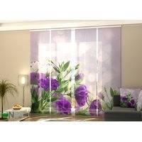 Puolipimentävä paneeliverho Purple Eustoma 240x240 cm, Wellmira