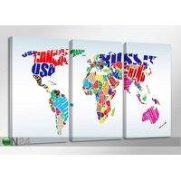 Kolmeosainen seinätaulu WORLDMAP, ED