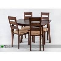 Jatkettava ruokapöytä Bari ja 4 tuolia Parma, vaalea wenge, GO
