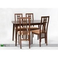Jatkettava ruokapöytä Bari 80x120-150 cm + 4 tuolia Monza, vaalea wenge, GO