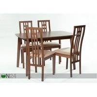 Jatkettava ruokapöytä Bari 80x120-150 cm + 4 tuolia Monza, pähkinä, GO