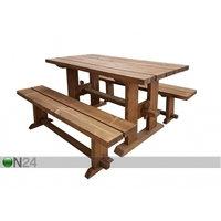 Puutarhapöytä ja penkit 200 cm, MSL