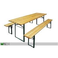 Kokoontaitettavat puutarhakalusteet, pöytä 70x220 cm+2 penkkiä, Funrent