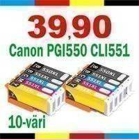 Mustekasetti.com korvaava Canon 6509B008 PGI-550XL x2 / CLI-551XL 10-väri CMYK-PK x2 132ml