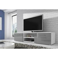 RENO TV-taso tv-kaluste 150 cm matta runko Valkoinen / Valkoinen etureuna kiiltävä
