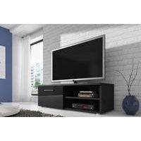 RENO TV-taso tv-kaluste 120 cm matta runko Musta / Musta etureuna kiiltävä