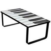 vidaXL Sohvapöytä lasisella pöytälevyllä ja pianokuviolla