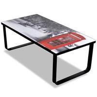 vidaXL Sohvapöytä lasisella pöytälevyllä ja puhelinkioskikuvalla