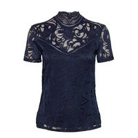 Vistasia Lace S/S Top - Noos T-shirts & Tops Short-sleeved Sininen Vila