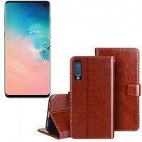 Samsung Galaxy S10 flip cover -suojakuori - Ruskea