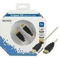 DELTACO USB 2.0 kaapeli Tyyppi A u - Tyyppi A n 3m beige/musta