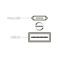 Forever Reversible Kaksipuolinen käännettävä Micro USB kaapeli - Musta