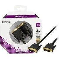 DELTACO DVI Single Link monitorikaapeli DVI-D 18+1-pin ur-ur 3m musta