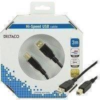 DELTACO USB 2.0 kaapeli A-tyyppi uros - B-tyyppi uros 3m musta