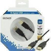 DELTACO USB 2.0 kaapeli Tyyppi A uros - Tyyppi A naaras 2m musta