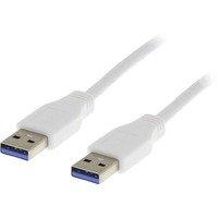 DELTACO USB 3.0 kaapeli A ur - A ur 1m valkoinen