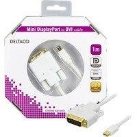 DELTACO mini DisplayPort - DVI-D Single Link monitorikaapeli 1m valk
