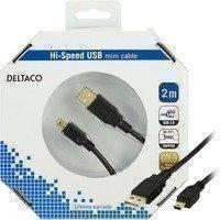 DELTACO USB 2.0 kaapeli Tyyppi A Uros - Tyyppi Mini B Uros 2m musta