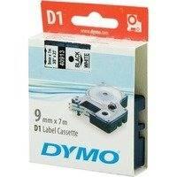 DYMO D1 merkkausteippi 9mm valkoinen/musta teksti 7m