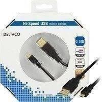 DELTACO USB 2.0 kaapeli Tyyppi A Uros - Tyyppi Micro B Uros 0 5m must