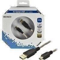 DELTACO USB 2.0 kaapeli Tyyppi A U - Tyyppi Mini B U 2m beige/musta