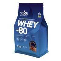 Whey-80, 1 kg, Mansikka, Star Nutrition