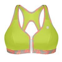 Active Zipped Plunge Bra, Lime
