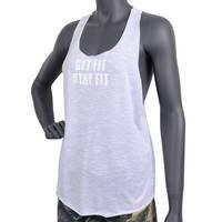 Fitnesstukku Tank Top, Loose Fit, White, L, FITNESSTUKKU