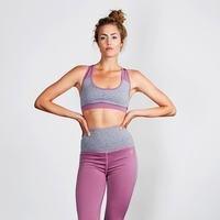 Angela Support Bra, Greymelange/Dusty purple