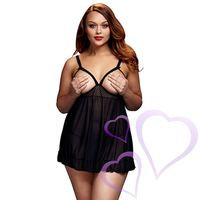 Baci - Black Sheer Babydoll & Open Cup Bra, Queen size