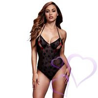 Baci - Black Lace Bodysuit & Bra Slits Red Bow, One Size