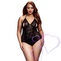 Baci - Black Lace Bodysuit & Bra Slits Red Bow, Queen Size