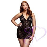 Baci - Black Lace Babydoll, Queen Size