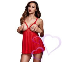 Baci - Red Sheer Babydoll & Open Cup Bra, One Size