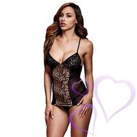 Baci - Leopard Basque & Garter Stays No Panty, One Size
