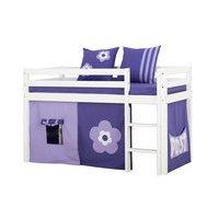 Hoppekids - BASIC Half-high bed with foam mattress + mattress cover + curtain 70x160 - Purple Flower