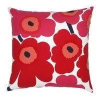 Pieni Unikko tyynynpäällinen punainen-tummansininen, Marimekko