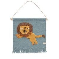 Jumping Lion -seinäkoriste 52x55 cm Sininen, OYOY