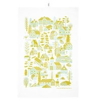 Kauniste Mökkilä keittiöpyyhe, keltainen