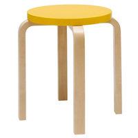 Artek Aalto jakkara E60, keltainen - koivu