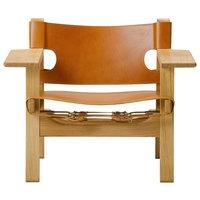 Fredericia The Spanish Chair nojatuoli, konjakinruskea nahka - lakattu tamm