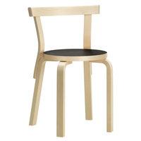 Artek Aalto tuoli 68, koivu - musta linoleum