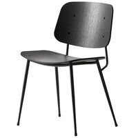 Fredericia Søborg tuoli 3060, musta teräsrunko, musta tammi